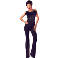 Fekete party neck jumpsuit