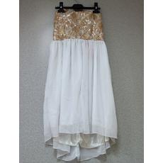 Fehér-arany pánt nélküli ruha- Egy méret