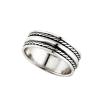 """""""Bangli"""" kis részben antikolt, fonatmintás, ezüst színű, férfi ezüst gyűrű"""
