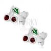 925 ezüst fülbevaló - lila cseresznyék zöld levéllel