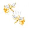Fülbevaló 14K sárga aranyból - csillogó szitakötők, szemecske cirkóniák a szárnyain