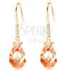 14K arany fülbevaló - átlátszó cirkóniák, kis virág és narancssárga könnycsepp