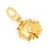 Medál 9K sárga aranyból - fényes kidomborodó napocska arccal