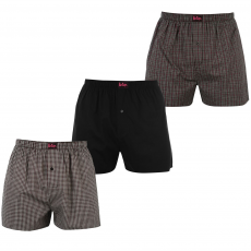 Lee Cooper Woven 3 darabos férfi boxeralsó fekete M