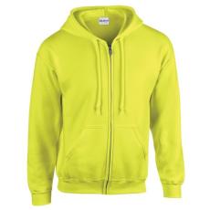 GILDAN cipzáros pulóver kapucnival, safety green