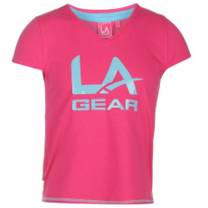 LA Gear gyerek póló - Large Logo V Neck - LA Gear Large Logo V Neck TShirt Girls