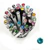 "Golyóstoll, Crystals from SWAROVSKI®, fehér,  14cm""Elegante"", türkiz kristállyal"