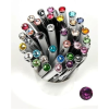 ". Golyóstoll, Crystals from SWAROVSKI®, fehér, 14cm""Elegante"", bíbor lila kristállyal"