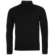 Pierre Cardin Férfi cipzáras nyakú pulóver fekete XS