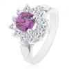 Gyűrű ezüst árnyalatban, lila-átlátszó cirkóniás virág, levelek