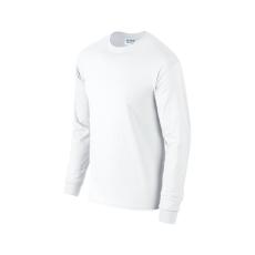 GILDAN hosszú ujjú környakas póló, fehér