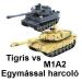 Tigris + M1A2 Abrams: egymással harcoló harckocsik: 2 az 1 -ben! 37 cm hossz