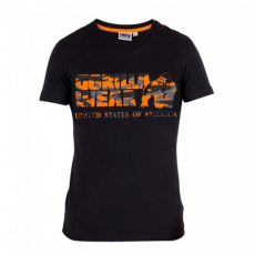 SACRAMENTO V-NECK T-SHIRT (BLACK/ORANGE) [L]