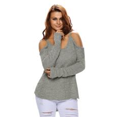 Szürke vállpántos meleg pulóver