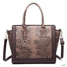 Miss Lulu London LT6626 -Miss Lulu szintetikus bőr kígyóskin minta Winged bevásárló táska táska kávé