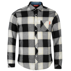Kickers Flannel férfi hosszú pamut ing fekete kockás XL