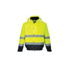 (S266) Hi-Vis kéttónusú bomber dzseki sárga