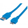 MANHATTAN USB 3.0 kábel, USB  - micro USB , 2 m, MANHATTAN, kék