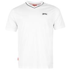 Slazenger Férfi V nyakú pamut póló fehér 3XL