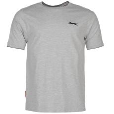 Slazenger Tipped férfi kerek nyakú pamut póló szürke 3XL