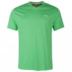 Slazenger Férfi V nyakú pamut póló zöld 3XL