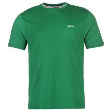 Slazenger Tipped férfi kerek nyakú pamut póló sötétzöld XXL