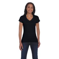 GILDAN női v-nyaku Softstyle póló, fekete