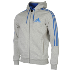 Adidas 3 Stripe férfi kapucnis cipzáras pulóver szürke XXL