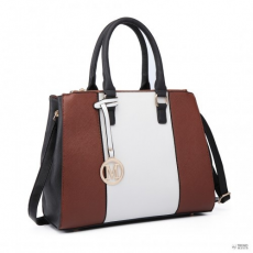 Barna Miss Lulu London LT6633-nőibőr kézi táska Sutton Centre csíkos bevásárló táska válltáska táska barna
