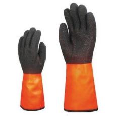 MV mártott téli  fekete/narancs érdes PVC kesztyű 3959, 35cm  HOSSZ 9