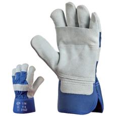 MV bőrkesztyű (172L), szürke dupla marhahasíték/kék vászon kézhát 12