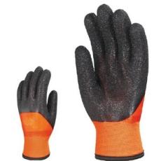 MV mártott téli  fekete/narancs érdes PVC kesztyű 3949  MANDZSETTA 9