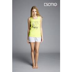 esotiq Feliratos női pizsama Kita 33003-71X 33006-71X sárga/szürke