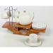 Porcelán kávéskészlet 12+1 db-os, tányér, csésze és kanna, bambusz állvánnyal Shoppingall 1602135