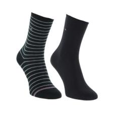 Tommy Hilfiger magasszárú zokni TH Women Small Stripe 2P, női, fekete, pamut, 35-38