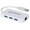 MANHATTAN Ethernet adapter, 3 port, USB 3.0, MANHATTAN