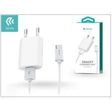 Devia USB hálózati töltő adapter + Type-C adatkábel 1 m-es vezetékkel - 5V/1A - Devia Smart Charger Suit - white tok és táska