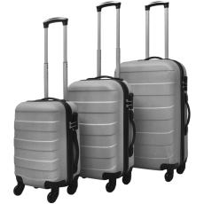 3 darabos kemény borítású utazó táska szett ezüst