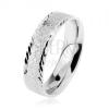 925 ezüst karikagyűrű, fénylő homokfúvott felület, kis ferde vésetek