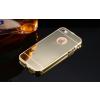 iPhone 5 5S SE aluminium bumper színes tükrös hátlappal (Arany)