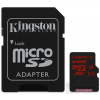 Kingston microSDXC 64GB (Class 10), U3 UHS-I memóriakártya adapterrel (SDCA3/64GB)