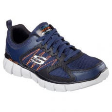 Skechers EQUALIZER 2.0 ON TRACK férfi sportcipő, Navy&Black/Orange, 41 (51532-NVOR-41)
