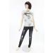 Szürke, feliratos női pamut divat póló