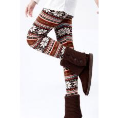 Meleg téli mintás leggings-egyméret