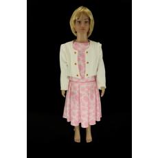 Rózsaszín, hosszú ujjú alkalmi lányka ruha