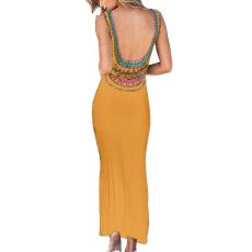 Horgolt sárga maxi ruha