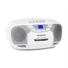 Auna BeeBerry Boom Box, fehér, boombox, hordozható rádió, CD/MP3 lejátszó, kazettás lejátszó