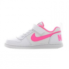 Nike Court Borough Low gyerek sportcipő, White/Pink Blast, 27.5 (870028-100-10.5c)