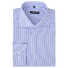 Csíkos fehér és világoskék S méretű üzleti férfi ing
