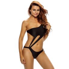 Fekete Egyrészes Kivágott Bikini-Small